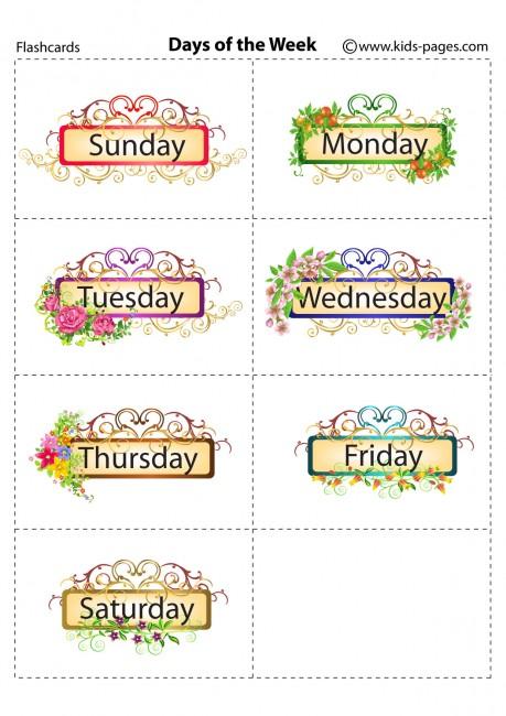 Number Names Worksheets days of the week printable : Days Of The Week flashcard