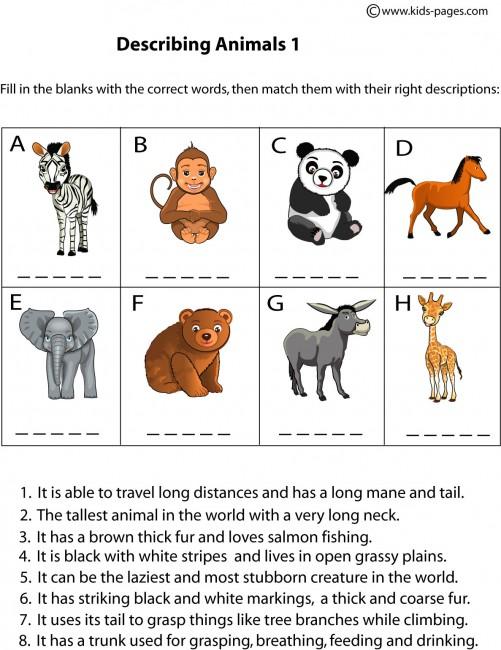 animals description 1 worksheet. Black Bedroom Furniture Sets. Home Design Ideas