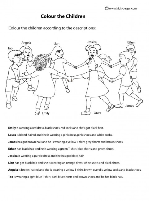 Colour the Children worksheet