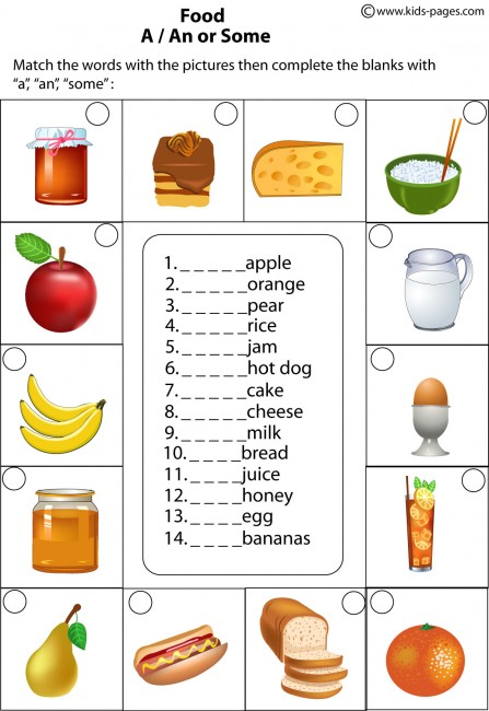 Food - A/An, Some worksheet