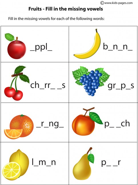 Fruits Fill In 1 worksheet