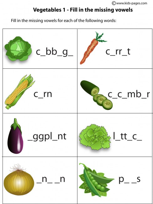 Vegetables - Fill In 1 worksheet