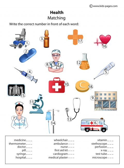 Health Matching worksheet
