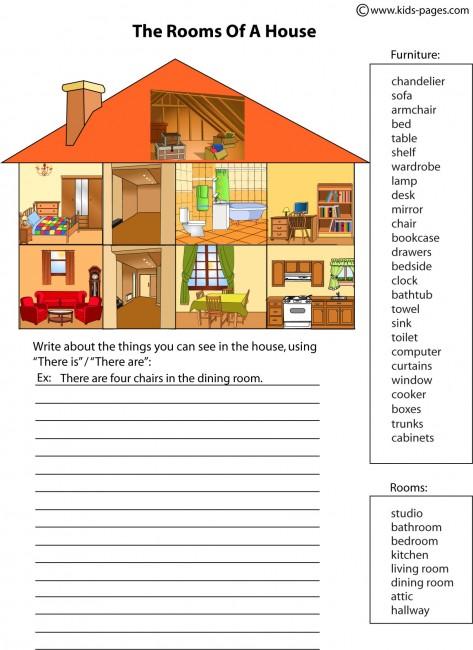Rooms Worksheet: Things In The Living Room Worksheet Pdf