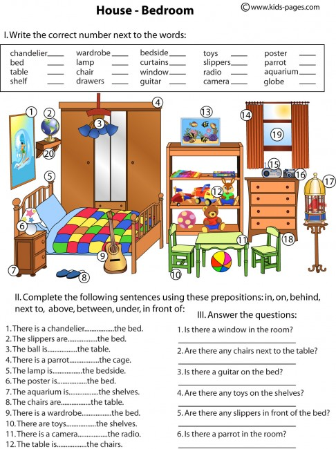 Bedroom and prepositions worksheet for Living room in french language