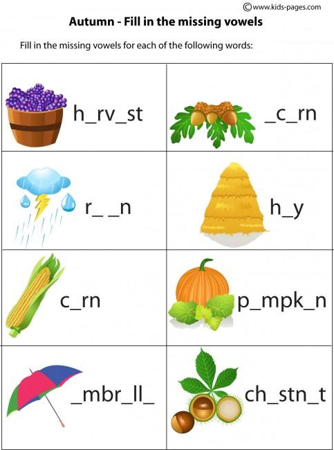 Number Names Worksheets autumn worksheet : Autumn Fill in worksheet
