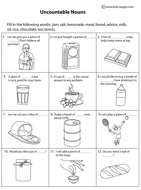 Uncountable Nouns Bw Worksheet