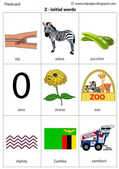 Zinitial - Words That Start With Z For Kindergarten