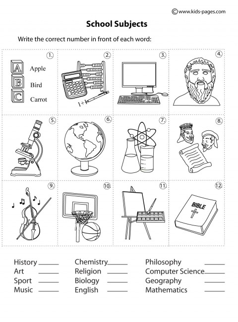 school subjects matching b w worksheet. Black Bedroom Furniture Sets. Home Design Ideas