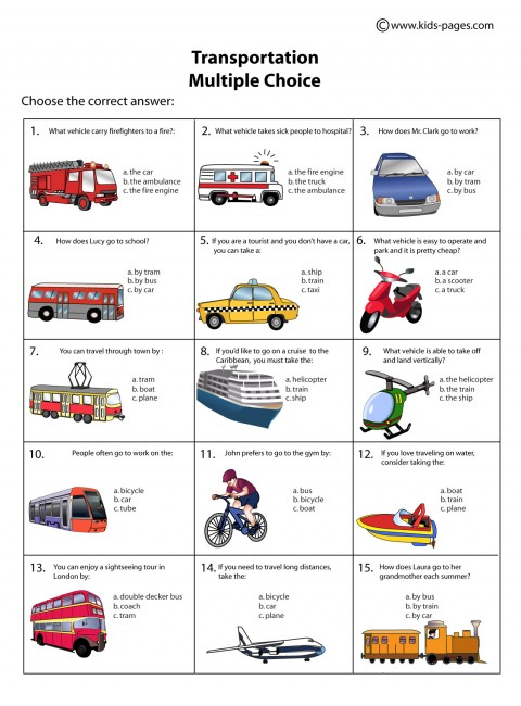 transportation multiple choice worksheet. Black Bedroom Furniture Sets. Home Design Ideas