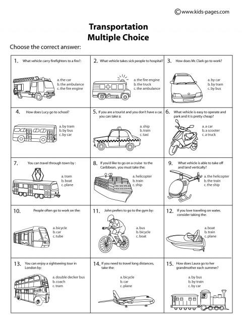 transportation multiple choice b w worksheet. Black Bedroom Furniture Sets. Home Design Ideas