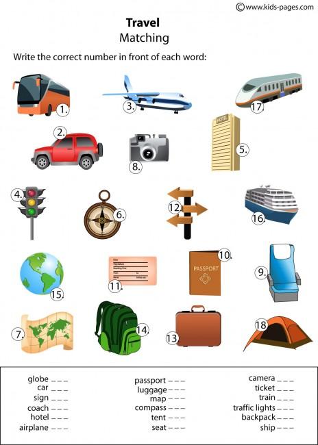 Travel Matching Worksheet